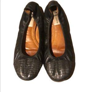 Lanvin black with silver snakeskin ballet flat 7.5
